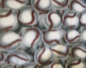 Baseballs with Red Handmade Fleece Blanket - Ready to Ship Now