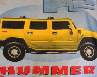 Handmade Blanket - Hummer in Yellow on Black - This Blanket is Ready to Ship Now