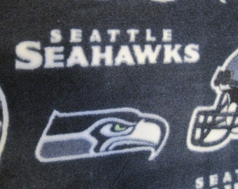 Seattle Seahawks on Navy Blue with Navy Blue Handmade Fleece Blanket