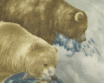 Bears Fishing in the Stream for Fish with Beige Fleece Blanket - Ready to Ship Now