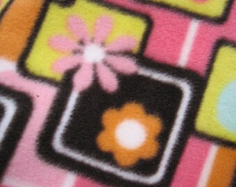 Flowers and Dots on Pink with Blue Handmade Fleece Blanket - Ready to Ship Now