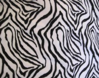 Zebra Stripes All Over with Black  Handmade Fleece Blanket