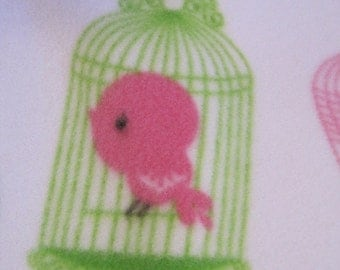 Pretty Birds Singing on White with Pink Handmade Fleece Blanket - Ready to Ship Now