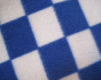 Fleece Blanket Handmade Blue and White Checkered Squares with Blue