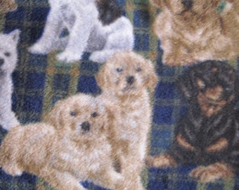 Dogs on Blue and Green Plaid with Green Couch Throw - Ready to Ship Now
