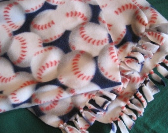 Baseballs with Red Stitching on Blue Fleece Scarf