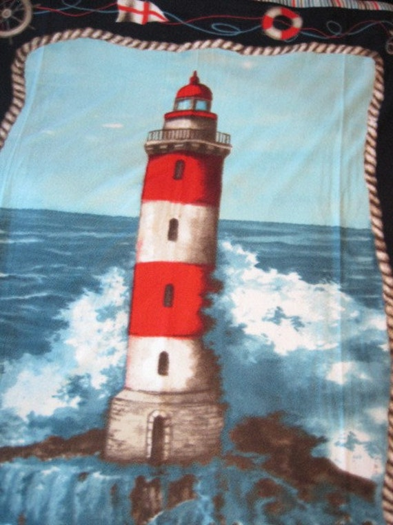 Light House and Crashing Waves with Sky Blue Fleece Blanket - Ready to Ship Now