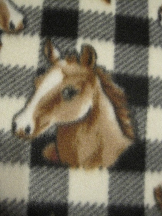 Brown and White Horses on Plaid with Brown Handmade Fleece Blanket
