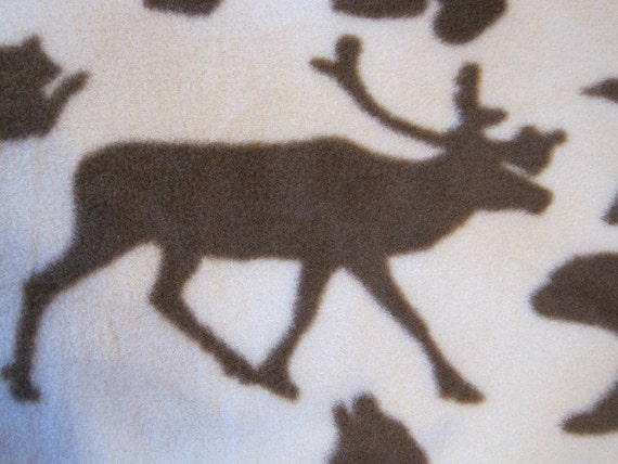 Caribou, Ducks, Bears, Wolves, Raccoons with Brown Blanket - Ready to Ship Now