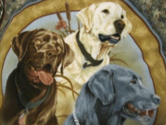 Labrador Dog Trio with Gold Handmade Blanket - Ready to Ship Now
