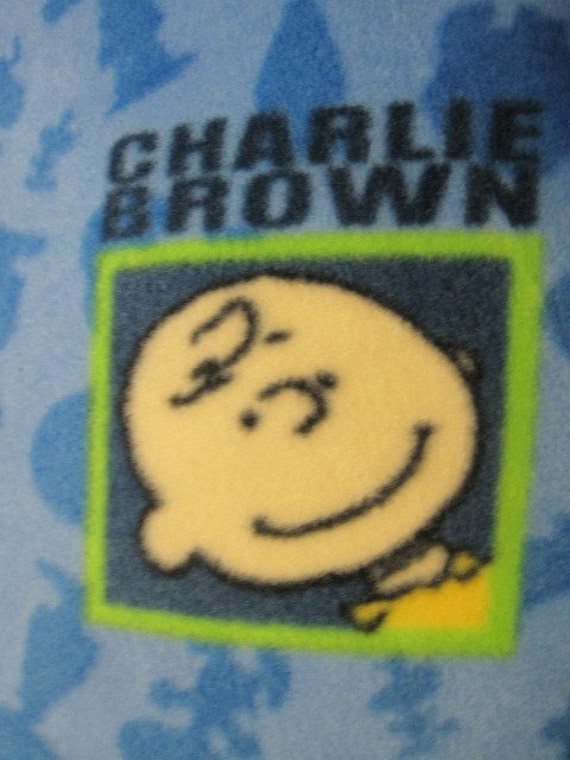 Charlie Brown on Blue with Bright Green Handmade Fleece Blanket