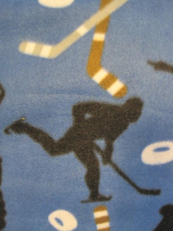 Handmade Fleece Blanket - Hockey Players, Sticks, and Pucks on Blue with Gray