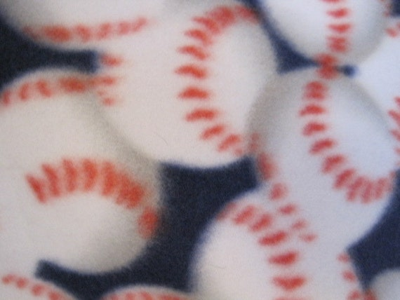 Baseballs on Blue with Red Blanket