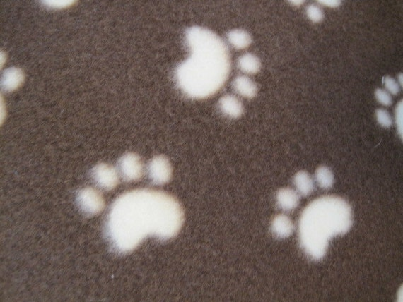 Beige Paw Prints on Brown with Brown Fleece Blanket
