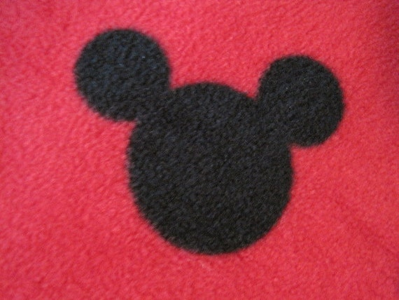 Reserved for Shanna - Mickey Mouse Head in Black Silhouette on Red with Black Fleece Blanket