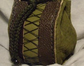 Green and Brown Leather Drawstring bag