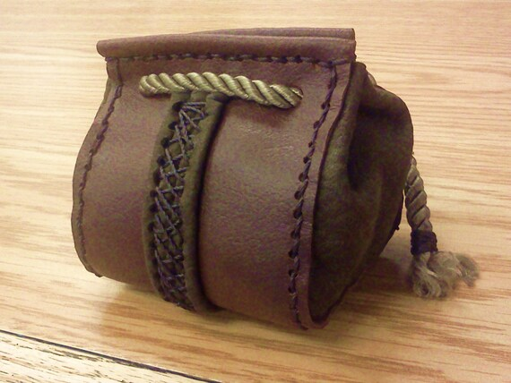 Brown and Green Strip Leather Drawstring Bag