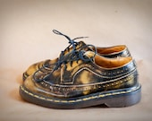 Vintage Mustard Yellow and Black Rare Doc Martens Lace Up Oxfords Made in England Size 4 U.K.