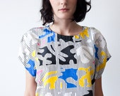 Vintage Color Block Abstract Print Blouse Top