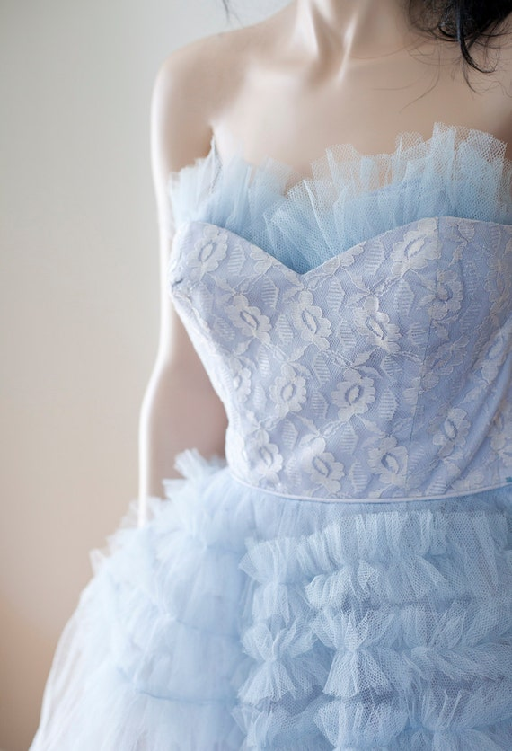 Vintage 1950s baby blue party wedding dress tulle and lace for Baby blue wedding guest dress
