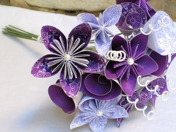 Items Similar To Origami Paper Flower Wedding Bouquet In Plum Posy On Etsy