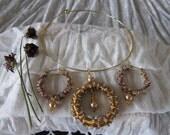 Gold Hoop and Ring Choker & Earrings Set