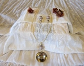Semi Precious Stone Necklace and Earrings Set
