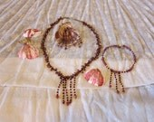 Casual Rustic Bead Necklace, Earrings and Bracelet Set