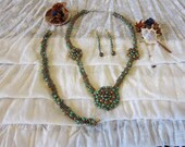 Green & Black Rope Necklace, Earrings and Bracelet Set