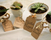 Teacup Name Tags or Escort Cards Kraft Paper Tags and Calligraphy Featured on Style Me Pretty - RachelCarl