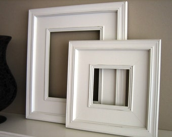 Sizes 8x10 to 12x12 Wood Picture Frame / Plein Air Style / Black, White, Gray, Brown