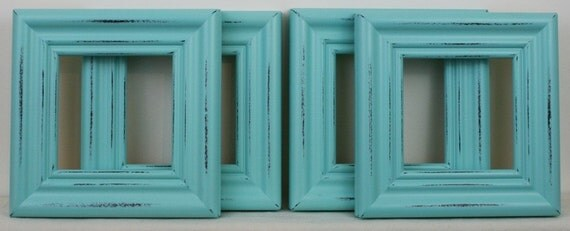 8x8 picture frames set of 4 shabby aqua on deco