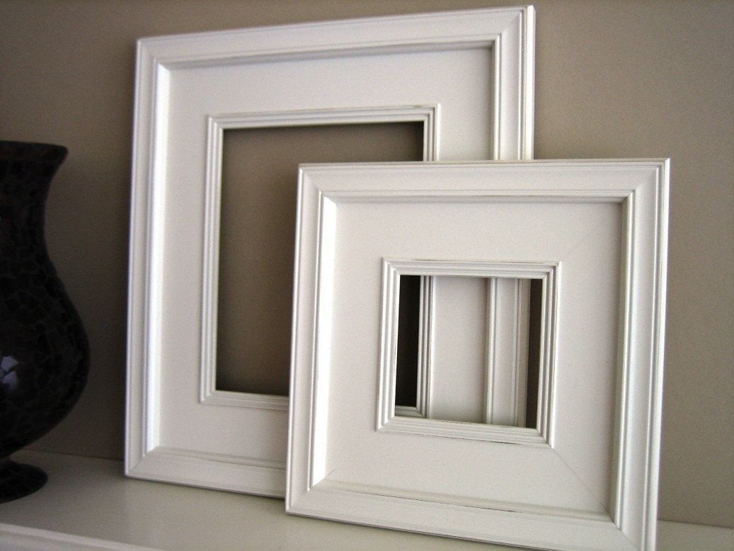 10x10 Plein Air Wide White Picture Frame Distressed Wood Free