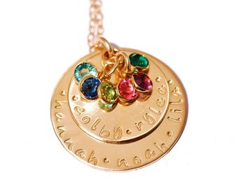 GOLD MOTHER - GRANDMOTHER Personalized Stamped Keepsake Necklace