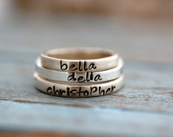 Personalized Hand Stamped Stacking Rings in Sterling Silver-ONE Ring