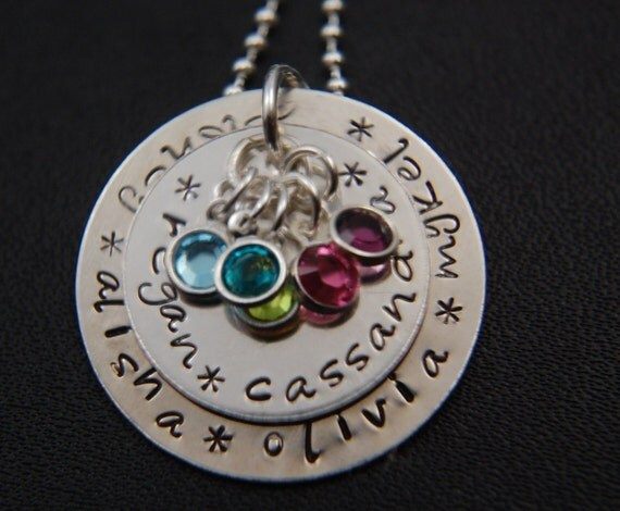 Mother - GRANDMOTHER Large Two Disc Pendant Necklace in Sterling Silver