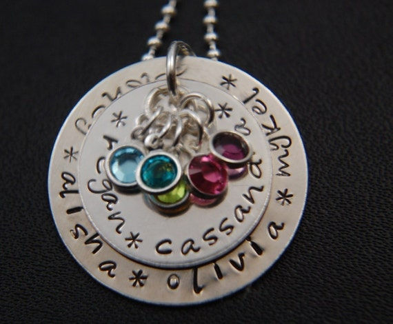Mother - GRANDMOTHER hand stamped Large Two Disc Layered Pendant Necklace in Sterling Silver