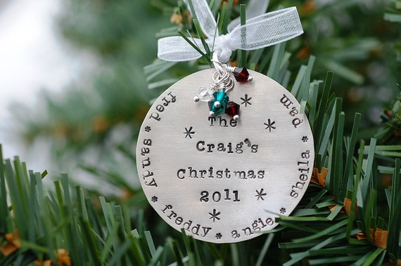 Personalized Family Christmas Ornament Silver Hand Stamped Child Names
