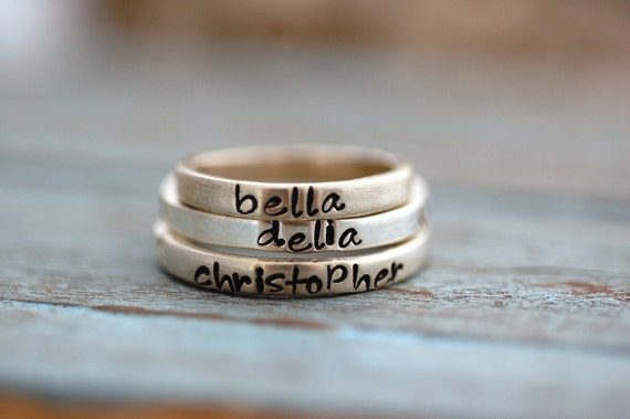 Hand Stamped Stacking Rings in Sterling Silver-ONE Ring