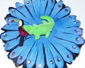 Blue/Black Daisy Alligator Snack hair flower (Ready to Ship)