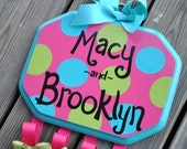 Bow Holder - POP DOT Design - Handpainted and Personalized Hair Bow Holder - Hairbow Organizer