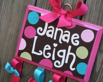 Bow Holder - COCO DOT Design - Large - Handpainted and Personalized HairBow Holder