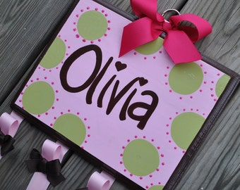 Bow Holder - WHIMSICAL DOTTIE Design - Handpainted and Personalized Hair Bow Holder