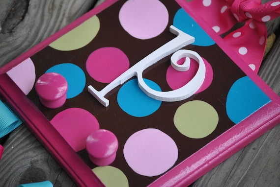 Bow Holder --- COCO DOT - Medium - Handpainted and Personalized  HairBow Holder