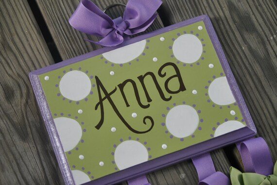 Bow Holder - WHIMSICAL DOTTIE Design - Handpainted and Personalized HairBow Holder