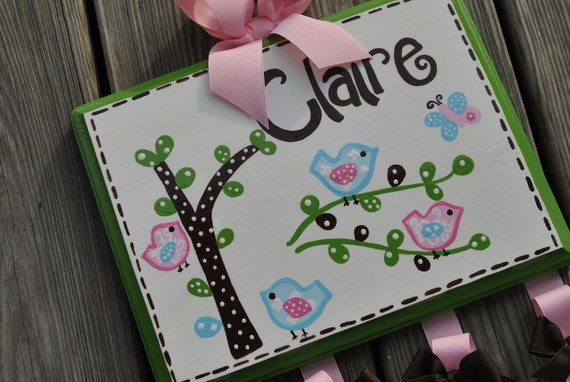 Hairbow Holder - HAYLEY Design M2M Bedding - XLarge - Handpainted and Personalized Bow Holder