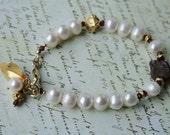Pearl and Rough Cut Garnet Bracelet in Gold Filled