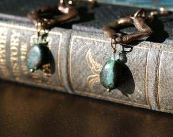 Turquoise and Old-World Bronze Geometric Earring