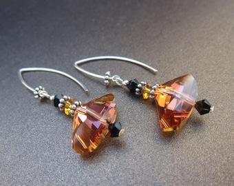Crystal Copper Swarovski Galactic Dangle Earrings in Sterling