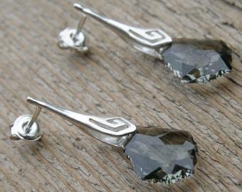 Swarovski Baroque Black Diamond Earring in Sterling